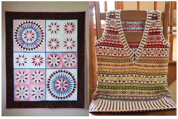 Two of Dr. Piecyk's recent projects, a quilt she made (left) and a vest she knitted (right).