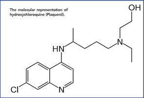 The molecular representation of hydroxychloroquine (Plaquenil).