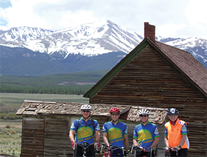Dr. Weinblatt (orange vest) rode through Colorado with his fellows from the Waban Young Men's Pedaling Society.