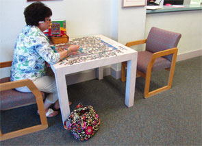 A jigsaw puzzle can keep minds occupied and provide hands with some dexterity practices and exercises while patients wait to see the doctor.