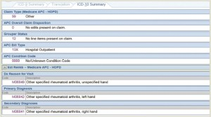 Example 1.a.3: RA—The ICD-10 summary tab demonstrates the final selections and shows the ICD-10 codes for the Reason for Visit, Primary Diagnosis, and Secondary Diagnoses.