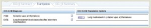 Example 2.a.2: Lupus—The Translation tab demonstrates the ICD-10 diagnosis code (right) that corresponds to the ICD-9 codes for lupus with lung involvement.