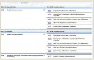 Example 2.b.2 Lupus—The Translation tab demonstrates the ICD-10 codes for the reason for visit (top right) and diagnosis (bottom right) that correspond to the ICD-9 codes for systemic lupus erythematosus.