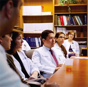 Dr. Majithia meets with his rheumatology fellows.
