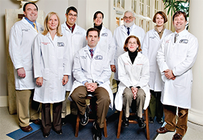 Dr. Dellaripa and Dr. Goldberg (seated), co-directors of the Interstitial Lung Disease Clinic, with additional staff members.