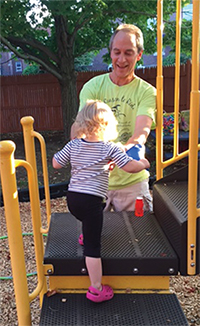 On Thursday nights, Dr. Shmerling plays with children at Second Step while their mothers attend counseling sessions or other facility programs.