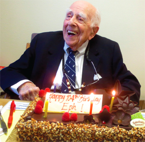 Dr. Engleman celebrates his 104th birthday at UCSF in March 2015. (photo courtesy of David Wofsy, MD)
