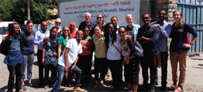 Physical therapists, Doctor of Physical Therapy students and a Doctor of Pharmacy student (from Ethiopia or Regis University in Denver) collaborate on the Global Physical Therapy Day of Service, Oct. 17, 2015, in Addis Ababa, Ethiopia.