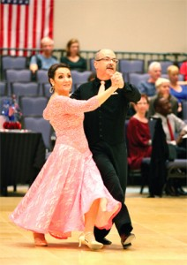 Dr. and Mrs. Miller dance the foxtrot at the October 2015 Chicago qualifier competition for the USA Dance National Championship.
