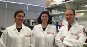 The Research Team: Dr. Stefania Gallucci (center) with colleagues Cagla Tukel, MD, (left), a microbiologist and expert in bacterial amyloids, and Roberto Caricchio, MD, a rheumatologist and director of the Lupus Clinic at Temple University School of Medicine in Philadelphia.