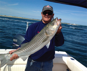 Dr. Coblyn catching striped bass and bluefin tuna in Cape Cod Bay.