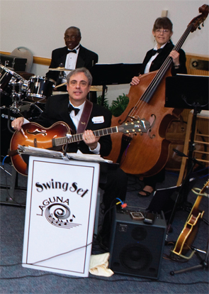 Dr.Schenk (with guitar) and the SwingSet Ensemble at the Saddleback Memorial Medical Center.