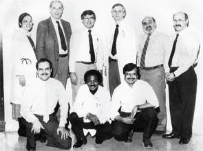 The faculty of the Division of Allergy, Immunology and Rheumatology in 1985. Standing, from left: Susan Plotkin, MD, Leonard Meiselas, MD, Allen Kaplan, MD, David Volkman, MD, PhD, Peter Gorevic, MD, and Lee Kaufman, MD. Sitting, from left: Barry Gruber, MD, Berhane Ghebrehiwet, DVM, DSc, and Sesha Reddigari, PhD.