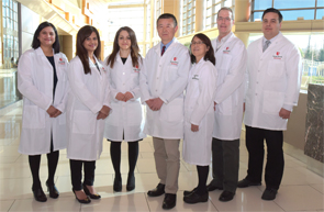 The Center of Autoinflammatory Diseases in March 2016. From left: Asha Patnaik, MD, Julie Cherian, MD, Ayse Bag Ozbek, MD, Qingping Yao, MD, PhD, Ellen Li, MD, James Bliska, PhD, and Henry Neumann, MD.
