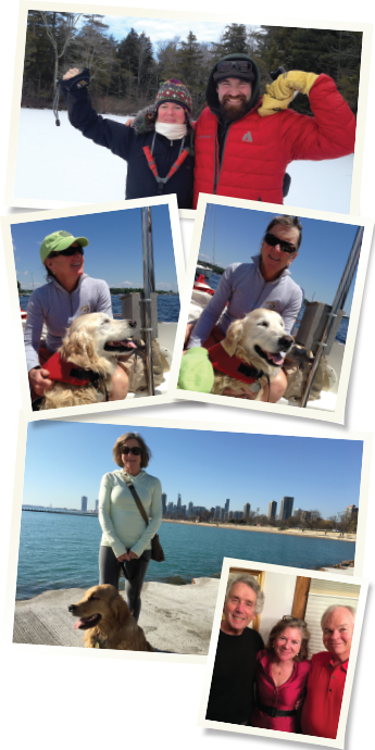 Top: Winter Outward Bound programs. Middle: At sea with Scout, the therapy dog. Above: Training in Chicago. Right: Dr. Moran with her former colleagues from the Illinois Bone and Joint Institute in Chicago, Dr. Gerry Eisenberg (left) and Dr. Patrick Schuette (right).