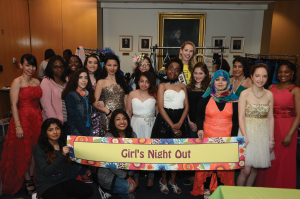HSS partnered with Project Sunshine to hold the annual Charla de Lupus Girls Night Out/Parents Spa Day on April 7, 2016, for young women with lupus and their parents and caregivers. During the event, which was hosted by the Charla de Lupus (Lupus Chat) Program at HSS, about 20 patients enjoyed a night of fun picking out prom dresses and getting their hair and makeup done. Miss USA 2015, Olivia Jordan, joined HSS and Project Sunshine staff to help the girls. Photo courtesy of Hospital for Special Surgery.