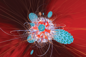 Immune system defense cells attack a virus.