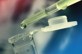 Stem cells in a fluid are being transferred for study.