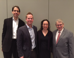 Speakers from the 2016 RRW session, Relevance of the NIH Strategic Plan: Roadmap from Concept to Successful Grant Application, from left: Peter Nigrovic, MD; Jeffrey Sparks, MD, MMSc; Alexis Ogdie-Beatty, MD, MSCE, and Stephen Katz, MD.