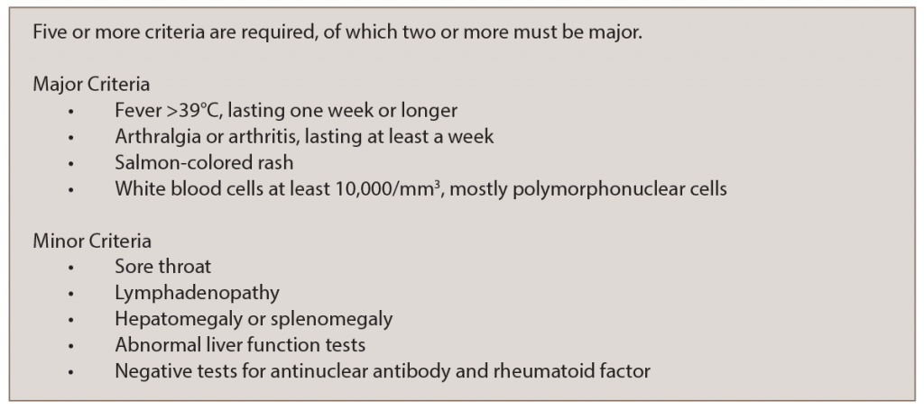 Table 1: Adapted Yamaguchi Criteria for AOSD