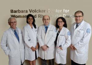 The Barbara Volcker Center physician team, from left: Michael Lockshin, Medha Barbhaiya, Kyriakos Kirou, Lisa Sammaritano and Doruk Erkan.