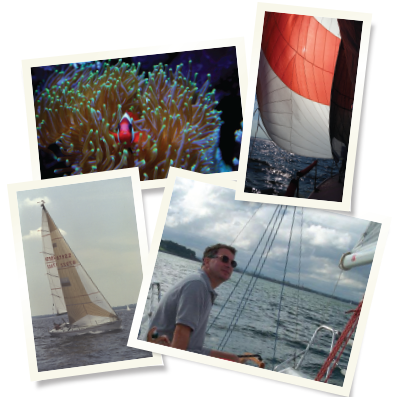 "Top left: Clown fish residing in a bubble tip anemone in the Furie home. Top right: Dr. Furie sailing under spinnaker into the sunset on Long Island Sound. Bottom left: Dr. Furie skippering during a race on Long Island Sound. Says his wife, ""You spent more time naming your boats than your children."" Bottom right: Dr. Furie attends to main sail trim during a race."