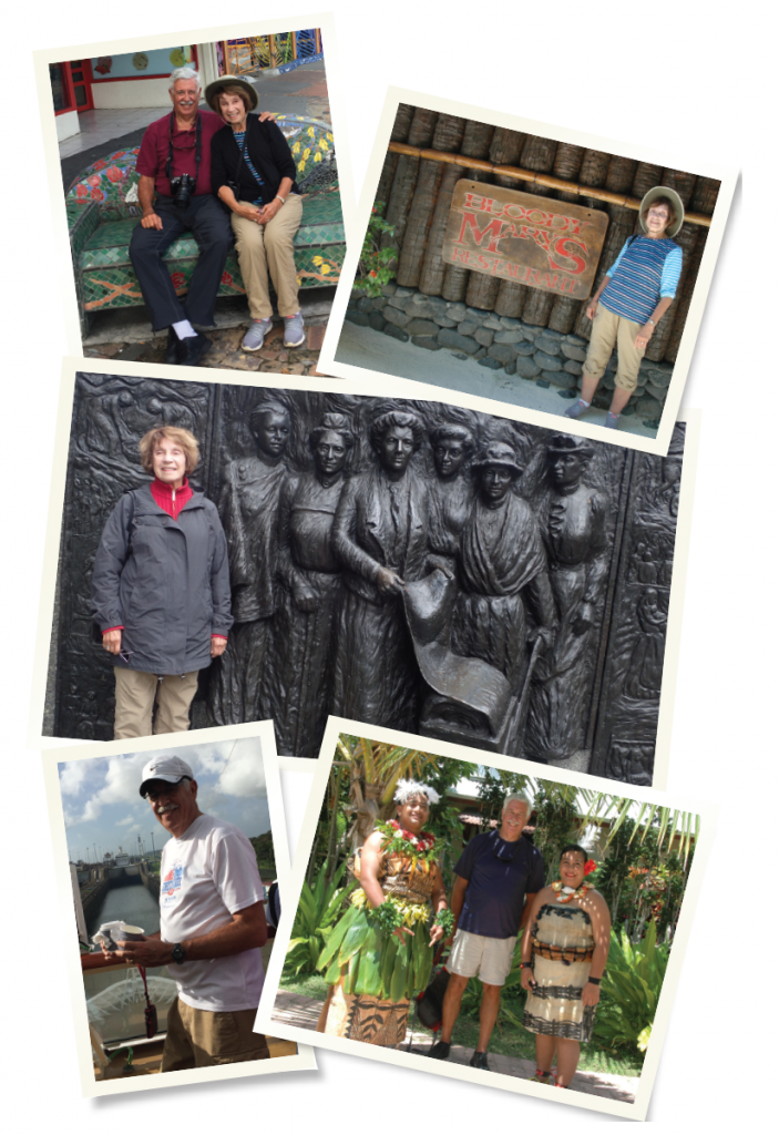 Top left: Andi and Ed Herzig on a bench in Kawkawa, near Russell, New Zealand, which was decorated by the artist Friedensreich Hundertwasser. Top right: Andi Herzig. Middle: Andi Herzig at the Kate Sheppard memorial in Christchurch, New Zealand. Ms. Sheppard led the successful effort to gain women the vote in New Zealand in 1893. New Zealand was the first country in the world to grant women suffrage. Bottom left: Dr. Herzig at the Panama Canal Crossing. Bottom right: Dr. Herzig is welcomed to Tonga.