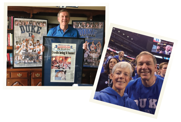 Dr. St.Clair in his home office, showing off his Duke memorabilia. Dr. Bill St.Clair and his wife, Barb, at the 2015 NCAA basketball championship game in Indianapolis.
