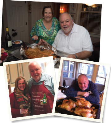 Top: Dr. Flood prepared this Oregon king salmon for a pretour dinner. Bottom left: Mary Wheatley, IOM, CAE, executive director of the Rheumatology Research Foundation, with Dr. Flood, wearing his favorite apron. Bottom right: Dr. Flood prepared these roasted chickens for a meal with friends.