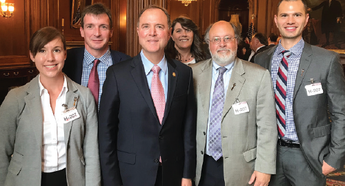 ACR President David Daikh, MD, PhD, with Rep. Adam Schiff (D-CA-28) and California rheumatology advocates. From left: Christina Downey, MD; William Robinson, MD, PhD; Rep. Schiff; ARHP President Sandra Mintz, MSN, RN; Dr. Daikh; and Matthew Baker, MD.