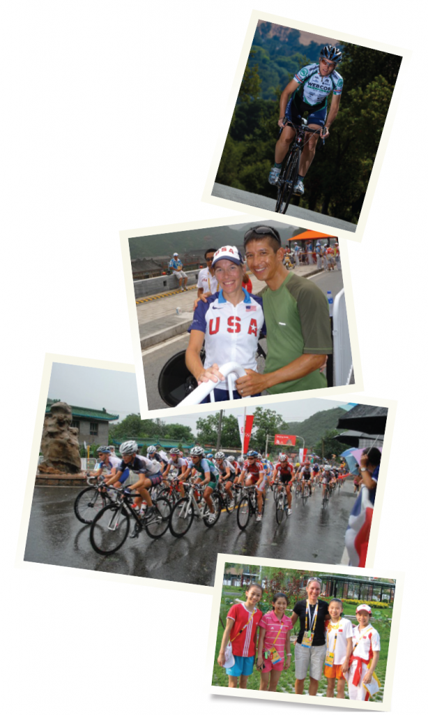 Dr. Thorburn came in 4th in the Olympic time trials in 2004 and 5th in 2008. Dr. Thorburn with her husband, Ted Huang, after the time trial in the Beijing Olympics in 2008. Dr. Thorburn is at the front of a very rainy road race at the 2008 Olympics in Beijing.