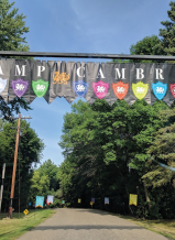The entrance to Camp Cambria in Minnesota greets campers who arrive for one memorable week each year.