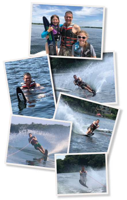 TOP: Dr. Binstadt with his daughters, Annika (left) and Kensi, on White Bear Lake in Minnesota. LEFT: Dr. Binstadt getting ready to water ski on White Bear Lake. RIGHT: Dr. Binstadt waterskiing at Little Glen Lake in Michigan.