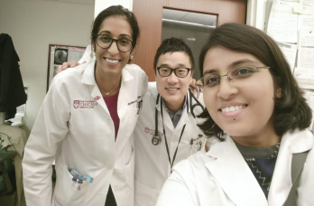 Dr. Dua (left), Dr. Ko (middle) and Dr. Sinha between clinics.