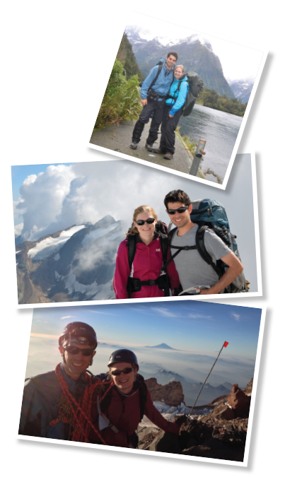 Top: Dr. Adler and Dr. Yarchoan near Milford Sound, New Zealand, in 2015. Middle: Dr. Adler and Dr. Yarchoan backpacking in the Stubai Alps in 2013. Bottom: Dr. Adler and Dr. Yarchoan in the Stubai Alps in 2013.
