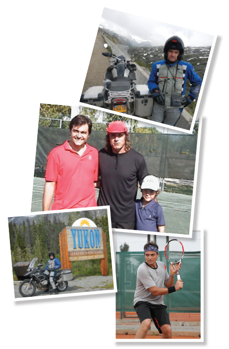 TOP: Dr. Valenzuela at Atigun Pass in Alaska. MIDDLE: From left, Dr. Valenzuela, tennis pro Guillermo Vilas and Dr. Valenzuela's son, Matias. BOTTOM LEFT: Dr. Valenzuela at the gateway to the Yukon in northwest Canada. BOTTOM RIGHT: Dr. Valenzuela practices his backhand.