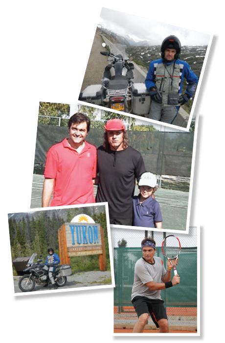 TOP: Dr. Valenzuela at Atigun Pass in Alaska. MIDDLE: From left, Dr. Valenzuela, tennis pro Guillermo Vilas and Dr.Valenzuela's son, Matias. BOTTOM LEFT: Dr. Valenzuela at the gateway to the Yukon in northwest Canada. BOTTOM RIGHT: Dr. Valenzuela practices his backhand.
