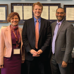 Drs. Fatma Dedeoglu and Will Harvey with Rep. Joe Kennedy (D-Mass.; middle).