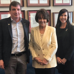 Drs. William Robinson and Christina Downey with Rep. Anna Eshoo (D-Calif.; middle).