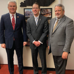 Drs. Chris Phillips and Michael Saitta with Rep. James Comer (R-Ky.; left).