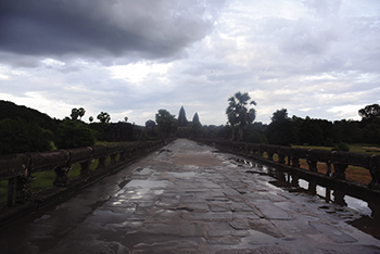 A portion of the Angkor Wat Buddhist temple complex in northern Cambodia.