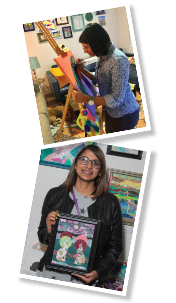 Top: Dr. Patel works on a mixed media piece<br> Bottom: Dr. Patel holds her collage, All Through the Night. It was displayed at an art show in Chicago in 2018.