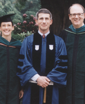Dr. Allen and Barton F. Haynes, MD, with Anthony Fauci, MD (center) in 1995 when Dr. Fauci received an honorary Doctor of Science degree from Duke University Medical School.