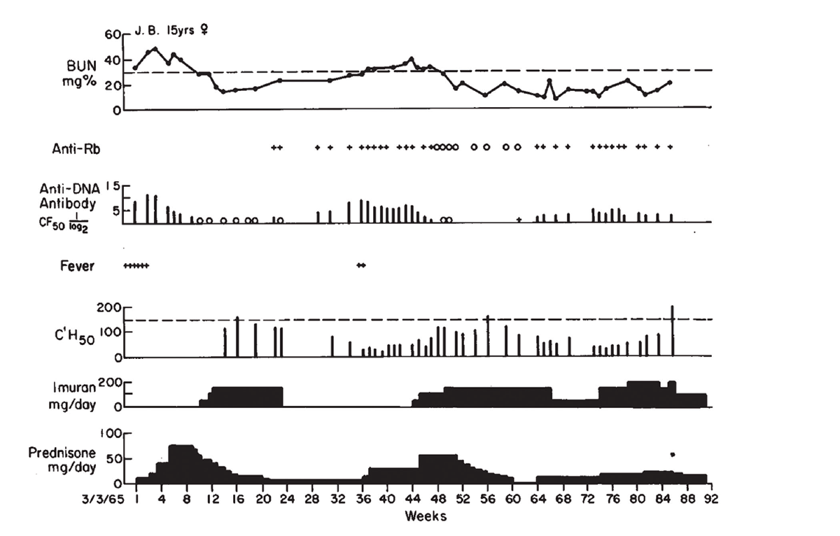 Figure 1: Clinical Course of J.B., with Association of Antibodies to DNA, Rb & Low Serum Complement Levels, with Active Nephritis