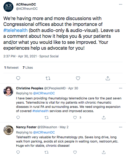 A tweet about discussions with Congressional offices about telehealth, followed by two replies