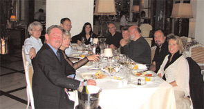 OMERACT Executive Committee members and spouses at a dinner held during the Malta conference. Clockwise from left: Rob Kew, OMERACT conference organizer; Mrs. Boers; Dr. Boers; Dr. Tugwell; Leanne Idzerda, OMERACT secretary; Dr. Brooks; Mrs. Tugwell; Dr. Simon; Jack Loftis, PhD; Dr. Strand.