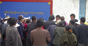 Tibetans waiting for clinic tickets.