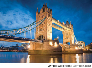 The Tower Bridge on the River Thames in London.