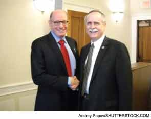 David G. Borenstein, MD, ACR past president (left), meets with with Rep. David McKinley (R-WV).