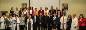 Lecturers and facilitators pause to commemorate the inaugural symposium of RACER in Moscow, Oct. 6, 2014.